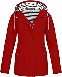 Women's Outdoor Waterproof Windbreaker Long Sleeve Stripe Hooded Raincoat Jacket Plus Size Coat S-5XL