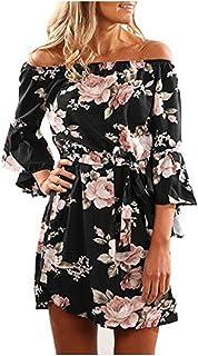 f7ccc320c55 Robe Plage Femme Floral Tropicale Robe Plissée Mini Sexy Epaule 4 3 Manches  Trompette Robe