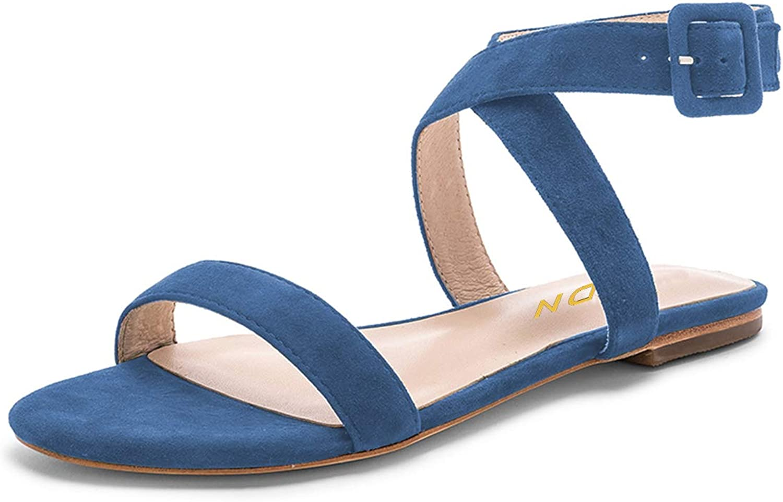 YDN Women Comfort Open Toe Cross Strap Flat Sandals Slingback Faux Suede Low Heel Dress Slide Sandals