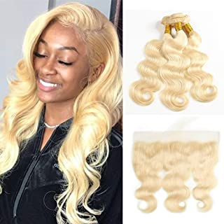 Fabeauty 613 Blonde Human Hair 3 Bundles with Frontal Brazilian Body Wave with Baby Hair Frontal 100% Ear to Ear Virgin Human Hair Weave with Lace Frontal (10 10 10+10)