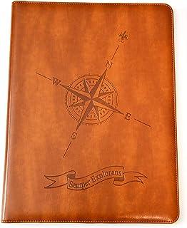 Compass Rose Padfolio by SohoSpark, Designer Faux Leather Portfolio, 8.5x11 Letter-Size Document Organizer, Resume Holder, Business Folder with Pen Holder