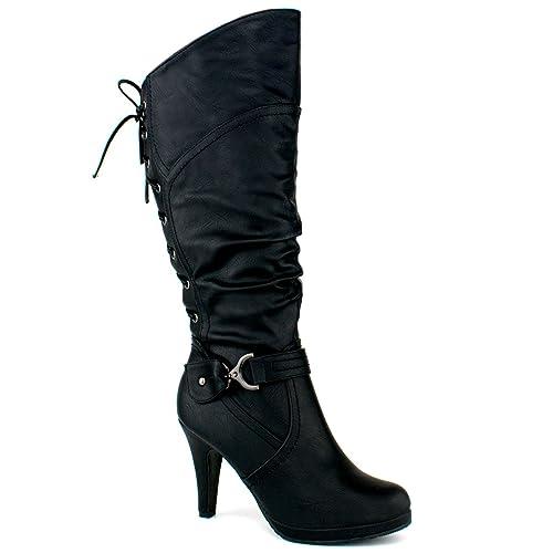 WOMENS BLOCK LOW HEEL ELASTIC KNEE HIGH GOLD ZIP BUCKLE STRETCH LADIES BOOTS