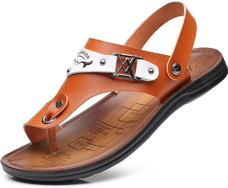 Oudan Men's Leather Sandal Flip Flops Summer Cozy Shower Beach Slipper, bluee, 40 (color   Brown, Size   39)