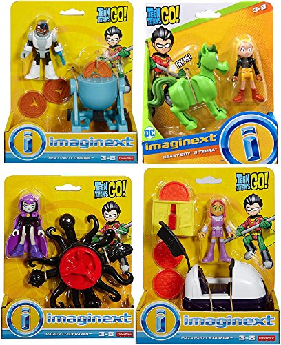 Toy Figure Go Super Hero Party Teen Titans Playset Magic Attack Raven / Meat Cyborg / Pizza Starfire / Beast Boy & Terra Adventure Cartoon Character Pack 4 Bundle