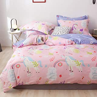 LAYENJOY Unicorn Duvet Cover Set Twin, 100% Cotton Bedding, Colorful Unicorn Rainbow Flower Floral Pattern Printed on Pink Reversible Purple, Cute Comforter Cover for Kids Teens Girls, No Comforter