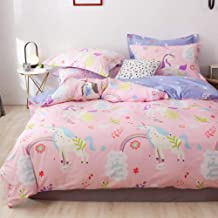 LAYENJOY Unicorn Duvet Cover Set Queen, 100% Cotton Bedding, Colorful Unicorn Rainbow Floral Pattern Printed on Pink Reversible Violet, Cute Comforter Cover Full for Kids Teens Girls, No Comforter