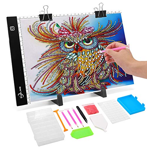 Light Box for Diamond Painting Large, B4 Tracing Pad, LED Board Tracer for Art Drawing Sketching Animation Sewing Embroidery Quilting Pattern Film Negative Tattoo Craft Drafting Gift for Kids Adults