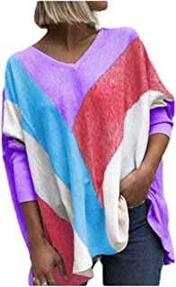 Comaba Women's V Neck Hit Color Blouse Casual Long Sleeve Fall Winter Tee Shirt