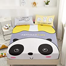 Deep Pocket Bedding Sheet for Mattress,100% Cotton Cartoon Single Fit Sheet, Suitable for Non-Slip Protective Cover for Bo...