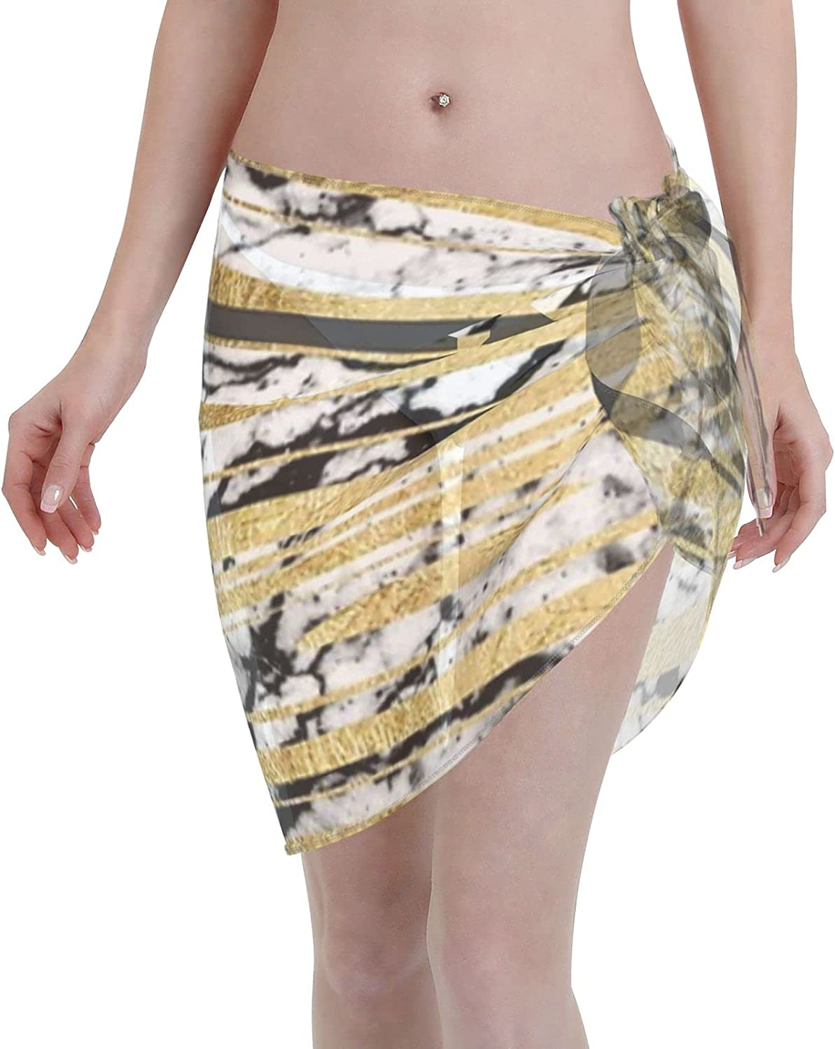 2053 pants Modern Black White Marble with Faux Gold Stripes Women Chiffon Beach Cover ups Beach Swimsuit Wrap Skirt wrap Bathing Suits for Women