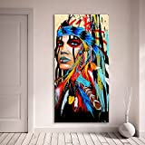 Karen Max Hochformat-Leinwandbild für Wohnzimmer, indische Frau, gefedert Stolz Gemälde, Heimdekoration, Bedruckt 80x160cm No Frame