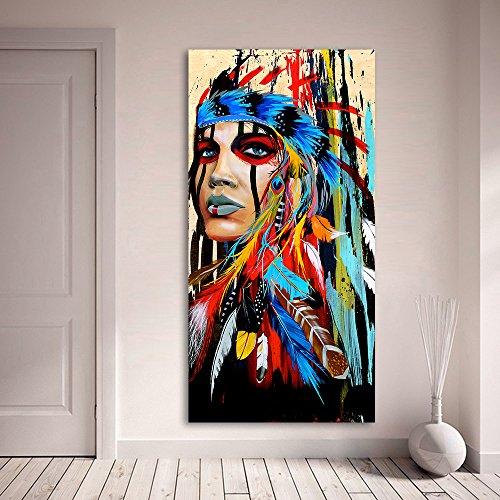 Karen Max Portrait-Kunstdruck auf Leinwand für Wohnzimmer, indische Frau, Feathered Pride, Gemälde Home Decor gedruckt (50 x 100 cm, kein Rahmen)