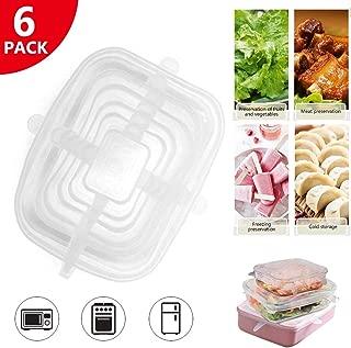 Geggur 6 Piezas Tapas de Silicona Elásticas, Tapas Silicona Ajustables Cocina, Reutilizable Fundas para Contenedores de Todos Los Tamaños y Formas, Lavavajillas, Refrigerador, 6 Tamaños