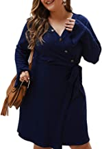 KCatsy Women Autumn Winter Plus Size Casual Long Sleeves Dress V Neck Sexy A Line Dress
