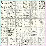 N\A 54 Stück Nagel Aufkleber Goldene Nagel Abziehbilder Blumen Nagelsticker Selbstklebend Nagel Tattoo Nagelfolie für Nail Art Deko Fingernagel Abziehbilder für Mädchen Frau Handwerk