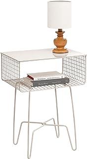 mDesign Modern Farmhouse Side/End Table - Solid Metal Design, Open Storage Shelf Basket, Hairpin Legs - Sturdy Vintage, Ru...