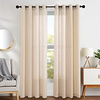 jinchan Linen Cotton Blend Curtains for Living Room Long Window Curtains Privacy Flax Linen Look Window Treatment Set for Bedroom Grommet Top 2 Panels 84 inches Crude
