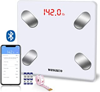 Bluetooth Smart Body Fat Scale WONGKUO 24 Key Body Composition Monitor Wireless Digital Bathroom Weight Scales Analyzer with Free iOS and Android APP,Sync Data with Apple Health,Google Fit or Fitbit