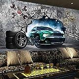 MGQSS 3D Wandbild selbstklebende Tapete Sportwagen Auto 3D Kinderzimmer Tapete Poster Fototapete...