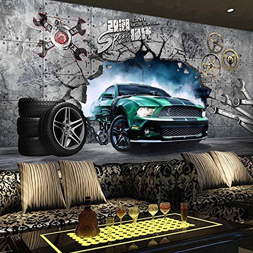 MGQSS 3D Wandbild selbstklebende Tapete Sportwagen Auto 3D Kinderzimmer Tapete Poster Fototapete Junge Mädchen Schlafzimmer Raumdekoration Umweltschutz(B)200x(H)150 cm