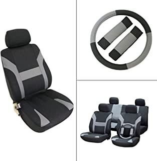 OCPTY Car Seat Cover, Stretchy Universal Seat Cushion w/Headrest/Steering Wheel/Shoulder Pads 100% Breathable Automotive Accessories Durable Washable Polyester for Most Cars(Black/Gray)