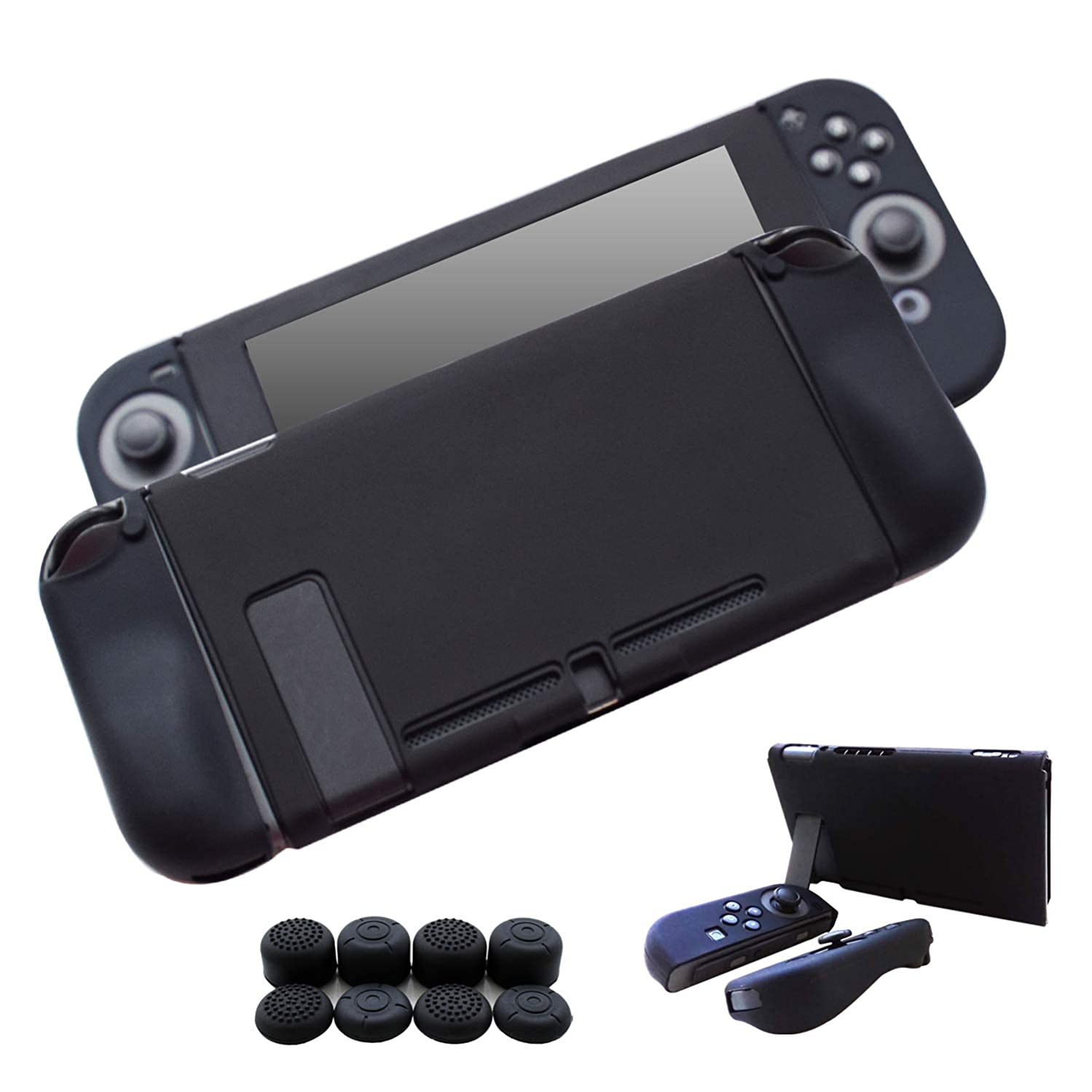 Hikfly 3pcs Silicone Gel Non-Slip Cover Skin Protector Case Kits Compatible for Nintendo Switch Consoles and Joy-Con Controllers with 8pcs Silicone Gel Thumb Grips Caps(Black)