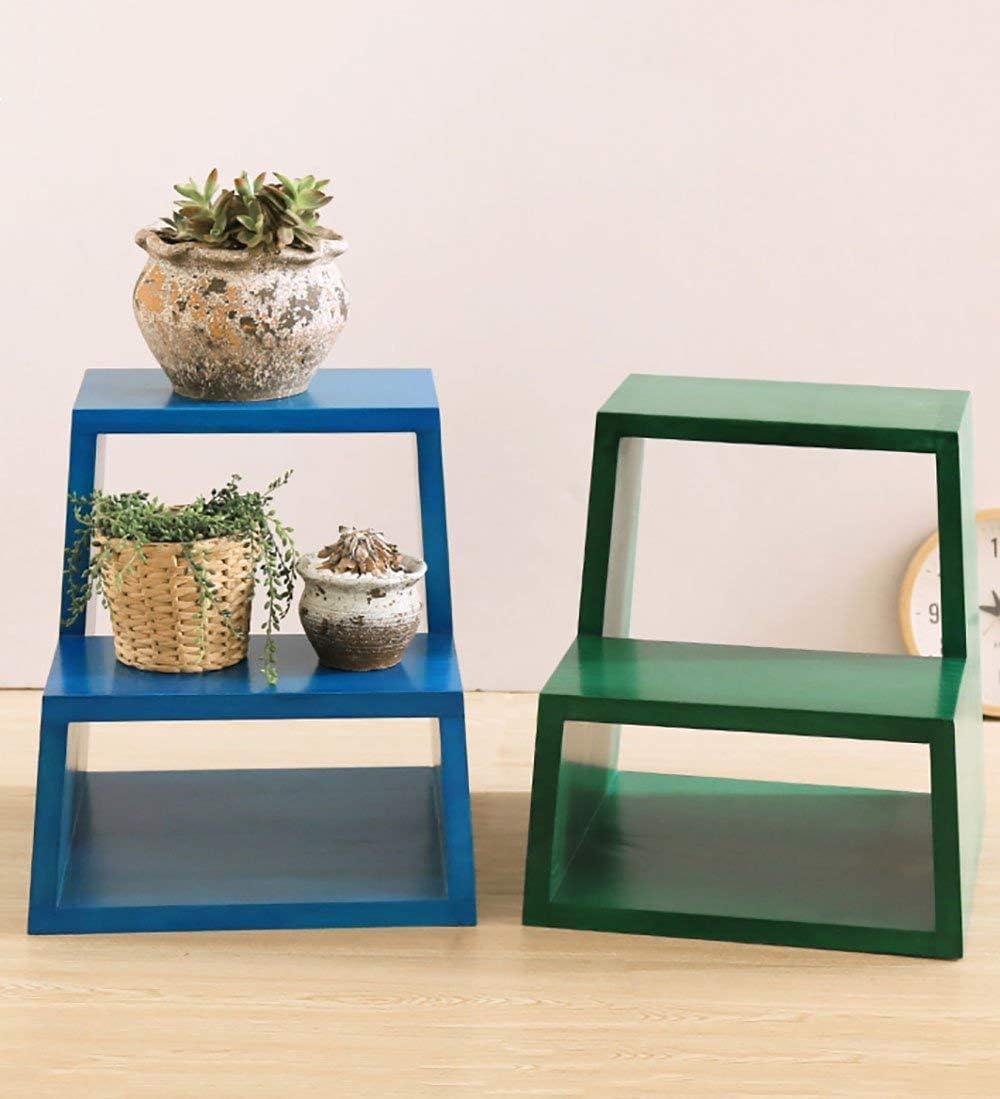TYJIAJU Tabouret àéchelle en deux étapes multifonctions en bois massif, chaussures de maison, tabouret, chaise d'escalier, support àétagère à fleurs jgh/D D