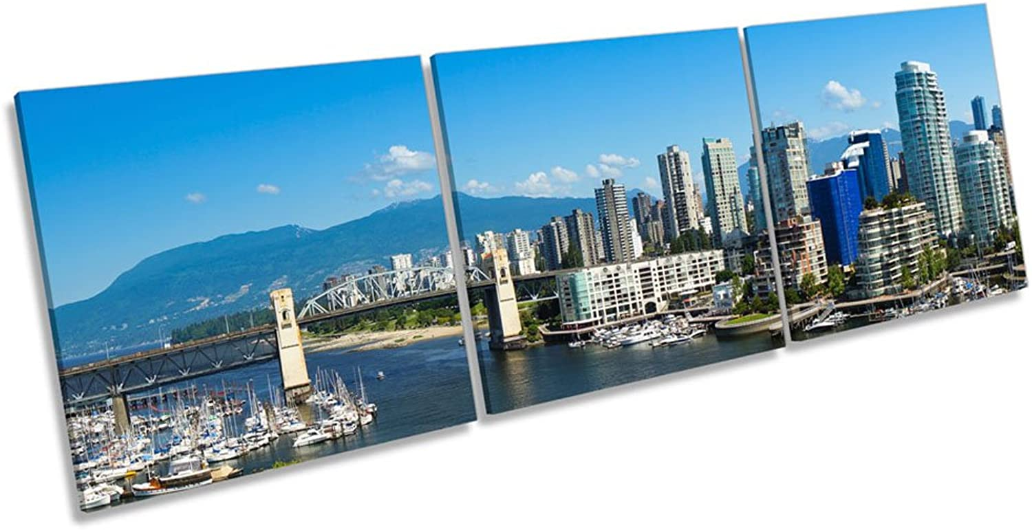 Vancouver Canvas-Skyline Wandbild, Rahmen, 120cm Wide x 40cm high