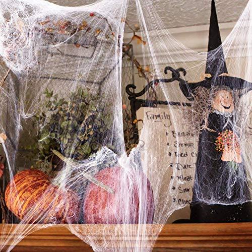 Barley Direct Halloween Dekoration Set, 100g Dehnbaren Spinnennetzen und 100 Schwarzen Horrorspinnen, Verwendet für Dekorationen Häuser und Gärten, Spukhäuser