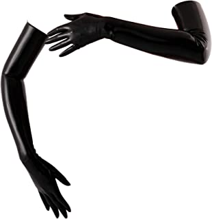 Latex Long Gloves (Opera Length) Fetish - Black (Small - Washed & Shined)