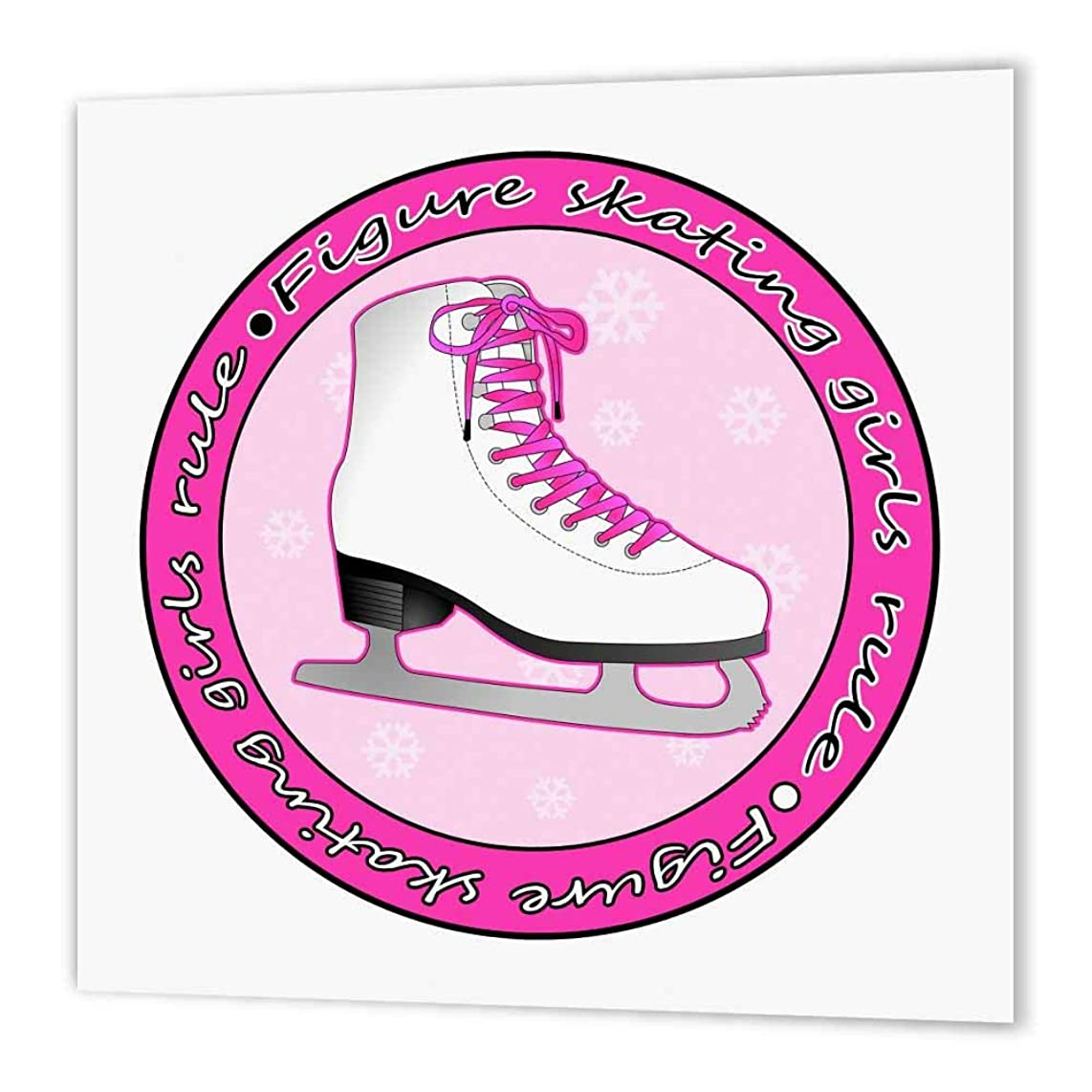3dRose ht_77469_2 Figure Skating Girls Rule Pink Skate-Iron on Heat Transfer for Material, 6 by 6-Inch, White