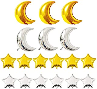 KEYYOOMY Crescent Moon Shaped Mylar Balloons 36 inch Moon and Star Party Balloons Pack of 18 for Birthday Party Anniversary Celebrate Parties Wedding Baby Shower Decorations (Gold and Silver)