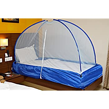 OnlineTree Mosquito net for Single Bed with Free Saviours (Blue)