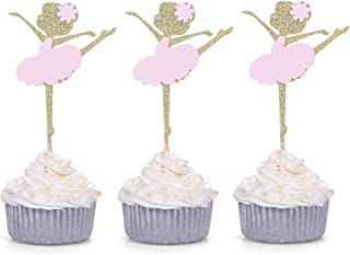 Giuffi 24 CT Gold and Pink Ballerina Cupcake Toppers