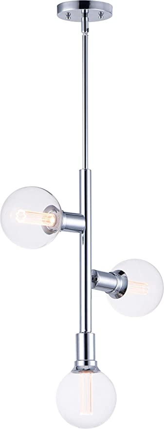 Amazon Com Maxim 11343pc Bul G40 Cl Molecule Straight Stem Led Pendant 3 Light 10 5 Total Watts 21 H X 17 W Polished Chrome Home Improvement