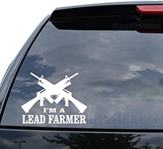 I'm A Lead Farmer Gun Assault Rifle Decal Sticker Car Truck Motorcycle Window Ipad Laptop Wall Decor - Size (07 inch / 18 cm Wide) - Color (Gloss Black)