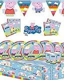 Peppa Pig - Kit de fiesta para cumpleaños infantil, con pancarta, para fiestas de entre 8 y 32 invitados