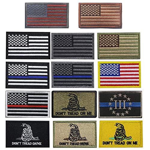 Creatrill Bundle 14 Pieces USA Flag Patch Thin Blue Line Tactical American Flag US United States of America Military Patches Set for Caps, Bags, Backpacks, Tactical Vest, Military Uniforms