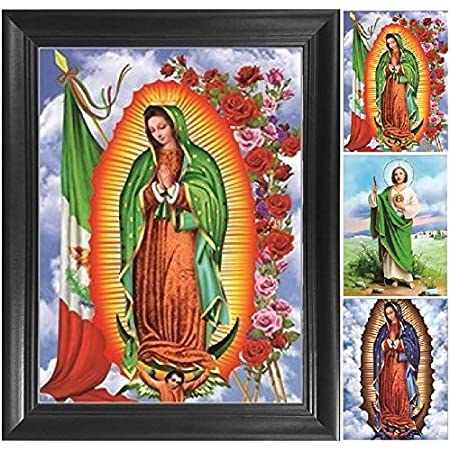 Virgin of Guadalupe Lenticular Shadowbox Wall Hanging with Guardian Angel and Madonna Child Optical Illusion Mexican Folk Art Paper Shrine