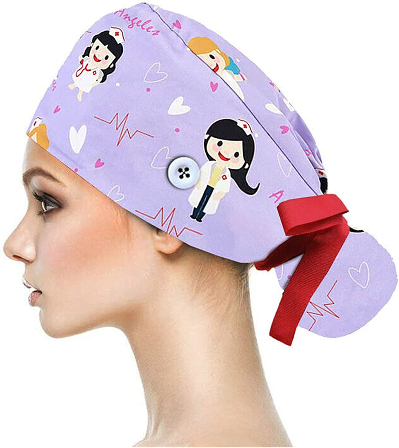 Adjustable Long Hair Style Surgical Scrub Cap Doctor Nurse Cotton Breathable Hat