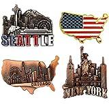 Juvale American Magnets for Fridge - Pack of 4 - New York, Chicago, Seattle, US Flag