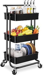 Panier De Rangement Mince 3 étagère De Rangée Organisateur Rolling Utility Panier avec Poignée roulettes Roues pour Cuisin...