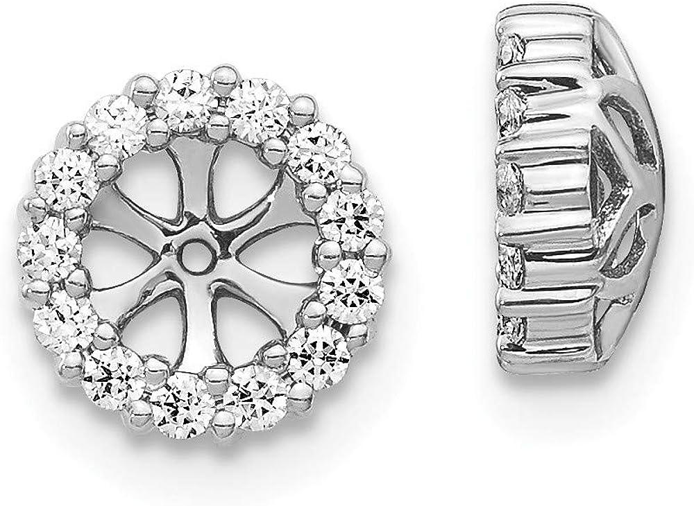 14K White Gold Diamond Round Earring Jackets 4.25 mm Opening for Stud Earrings (0.234Cttw)