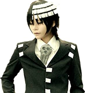 Soul Eater Death The Kid Short Black White MIX Anime Cosplay Cos Party wig