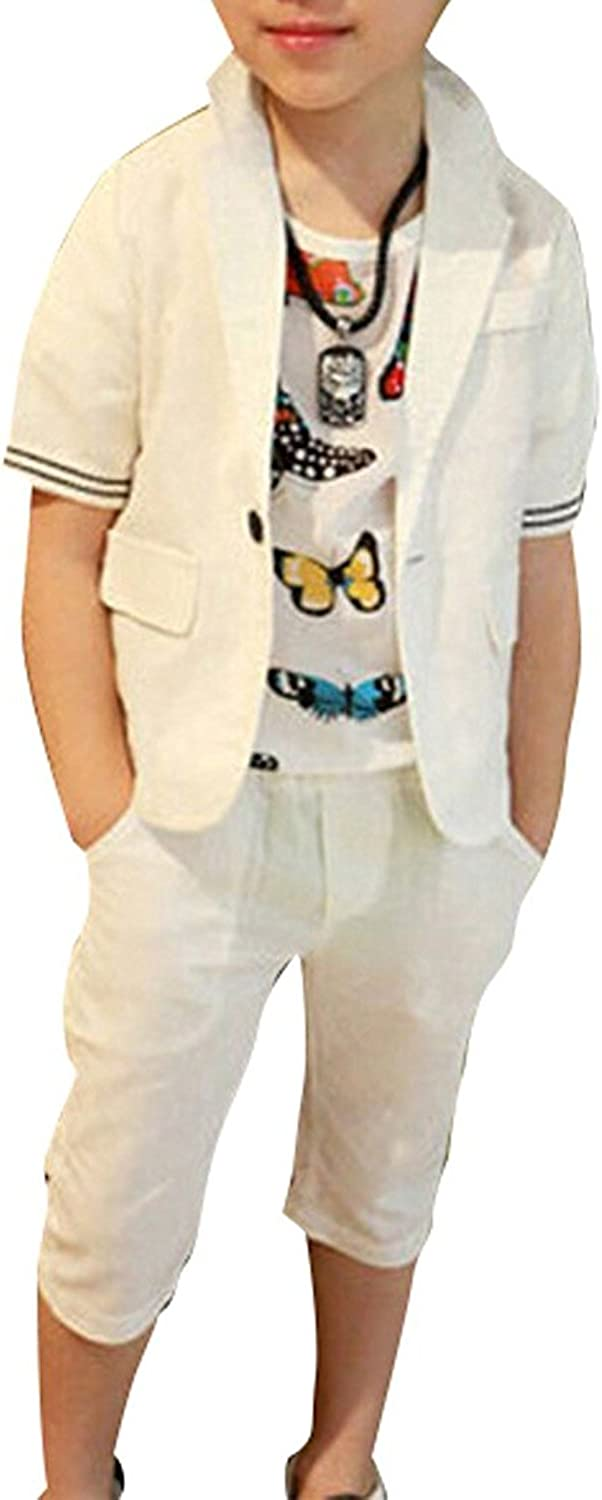 YUFAN Boys Summer White Suits 2 Pieces Short Sleeve Jacket and Shorts Set