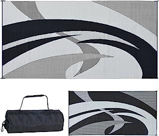 Reversible Mats Outdoor Patio/RV Camping Mat - Swirl (Black/White, 9-Feet x 18-Feet)