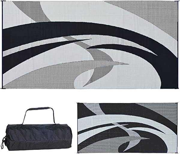 Reversible Mats 159181 Black White Swirl Pattern Mat 9 Feet X 18 Feet