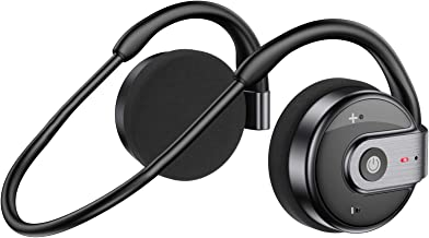 Behind The Head Headphones, itayak Bluetooth 5.0 Neckband Headphones Lightweight Small Wireless Sports Sweatproof Headset with Built-in Microphone, Carrying Case (Black)
