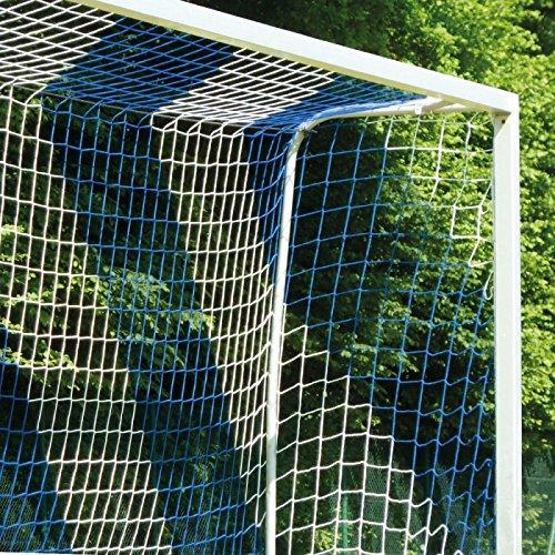 DONET Fußballtornetz 7,5 x 2,5 m Tiefe Oben 0,80 / unten 2,00 m, zweifarbig, PP 4 mm ø, blau/weiß