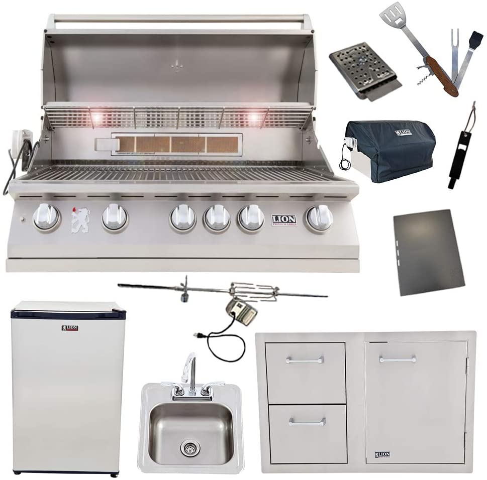 NG AMS Lion 32 Grill Package w//Double Door and Double Side Burner